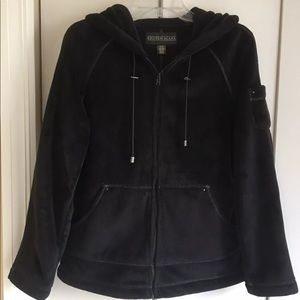 Kristen Blake Plush Fleece Black Zip Jacket Hoodie